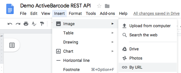 Demo ActiveBarcode REST API @ Google Docs