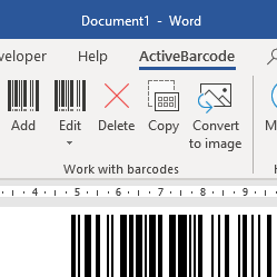 Word<br>Barcode Add-in